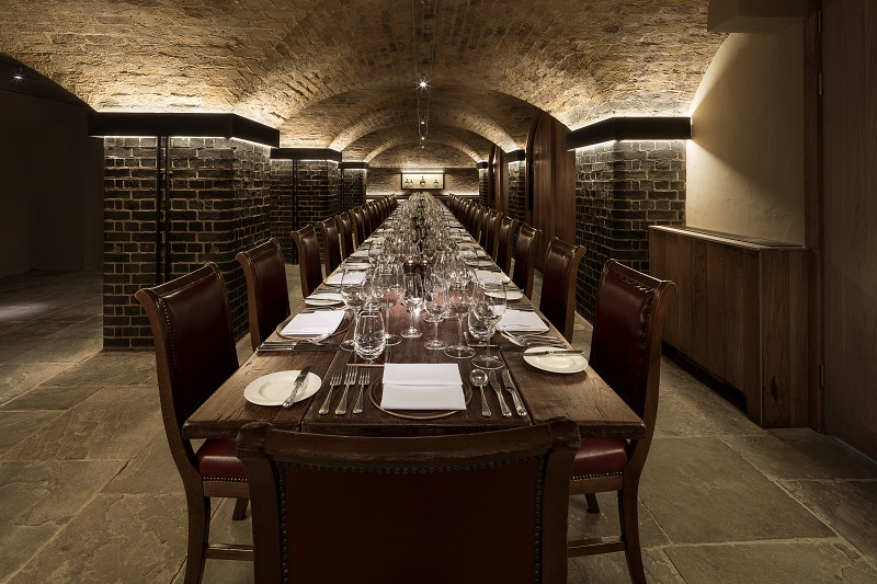 The stunning cellar private dining room at Berry Bros and Rudd. London.