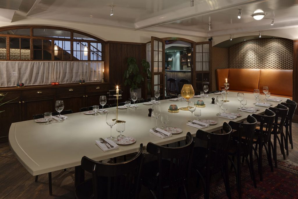 The underground den private dining room at Blixen in Spitalfields. London.
